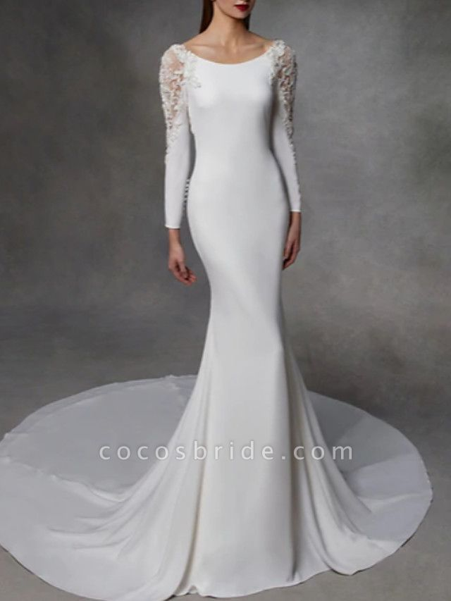 Mermaid \ Trumpet Wedding Dresses Jewel Neck Court Train Stretch Satin Lace Over Satin Long Sleeve Simple Sexy Illusion Detail Backless