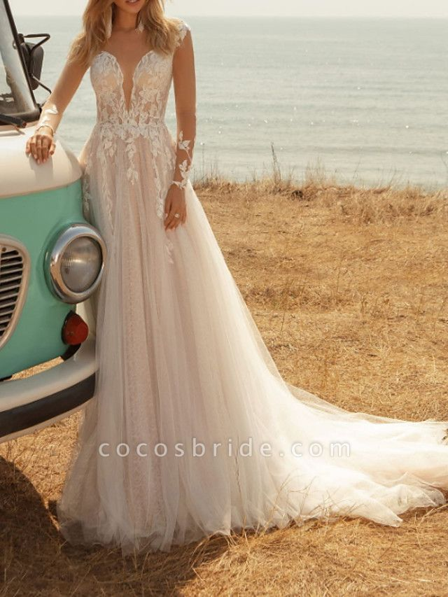 A-Line Wedding Dresses V Neck Sweep \ Brush Train Lace Tulle Jersey Long Sleeve Country Plus Size Illusion Sleeve