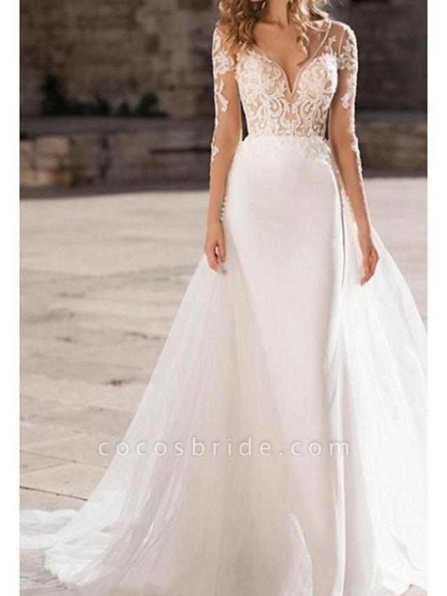 A-Line Wedding Dresses V Neck Court Train Organza Tulle Stretch Satin Long Sleeve Illusion Sleeve