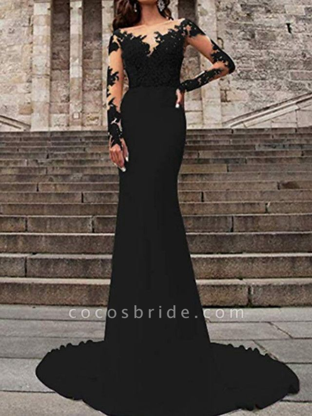Mermaid \ Trumpet Wedding Dresses V Neck Sweep \ Brush Train Polyester Long Sleeve Formal Plus Size Black Modern