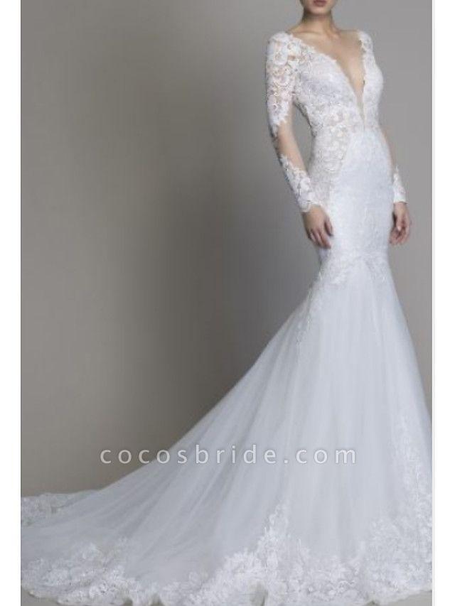 Mermaid \ Trumpet Wedding Dresses V Neck Court Train Lace Tulle Long Sleeve Formal Plus Size Illusion Sleeve