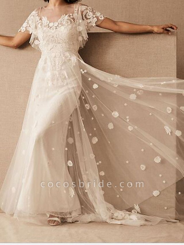 A-Line Wedding Dresses Scoop Neck Floor Length Tulle Short Sleeve Country Plus Size