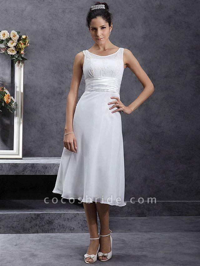Sheath \ Column Wedding Dresses Scoop Neck Tea Length Chiffon Regular Straps Little White Dress