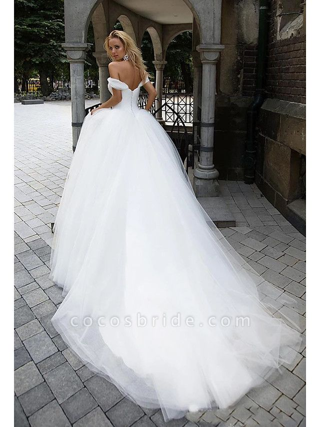 Ball Gown Wedding Dresses Off Shoulder Chapel Train Tulle Short Sleeve