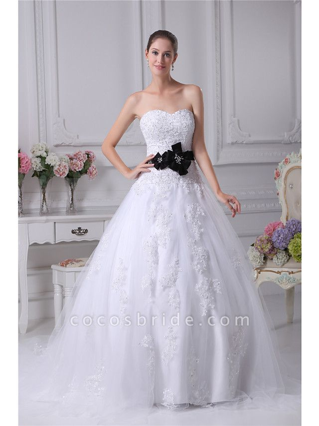 Ball Gown Sweetheart Neckline Chapel Train Lace Satin Tulle Strapless Wedding Dresses