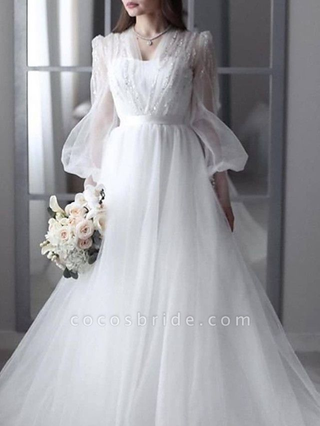 A-Line Wedding Dresses V Neck Sweep \ Brush Train Lace Tulle 3\4 Length Sleeve Sexy See-Through Backless