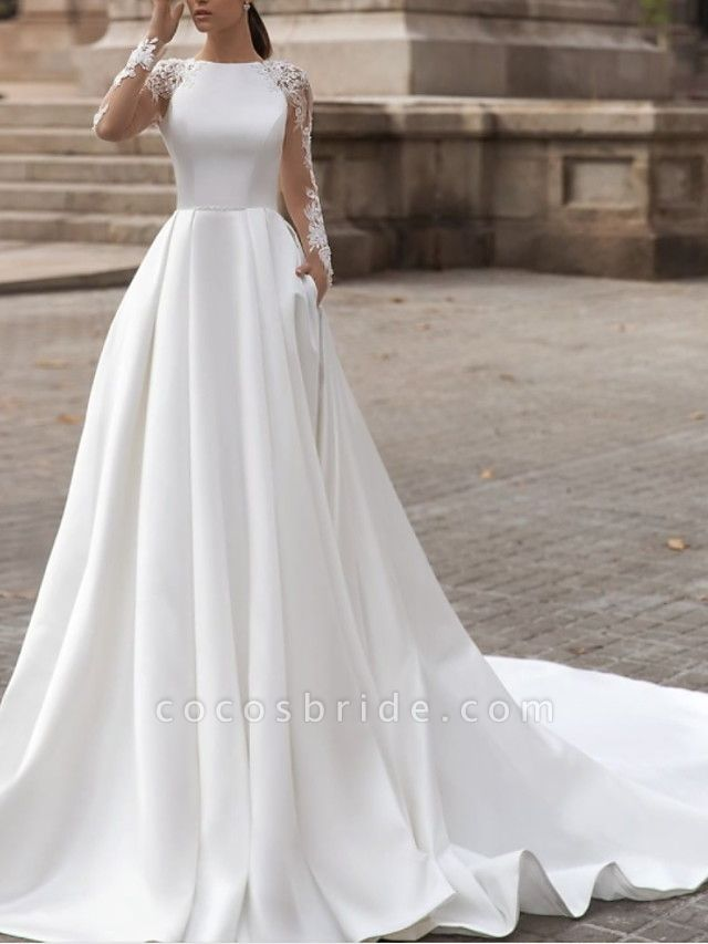 A-Line Wedding Dresses Jewel Neck Sweep \ Brush Train Lace Satin Long Sleeve Simple Sexy See-Through