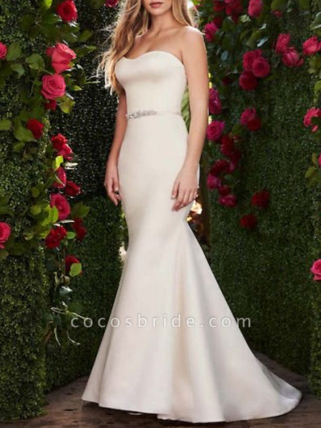 Mermaid \ Trumpet Wedding Dresses Sweetheart Neckline Sweep \ Brush Train Satin Strapless Plus Size