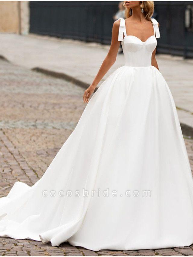 A-Line Wedding Dresses Sweetheart Neckline Sweep \ Brush Train Satin Spaghetti Strap Plus Size