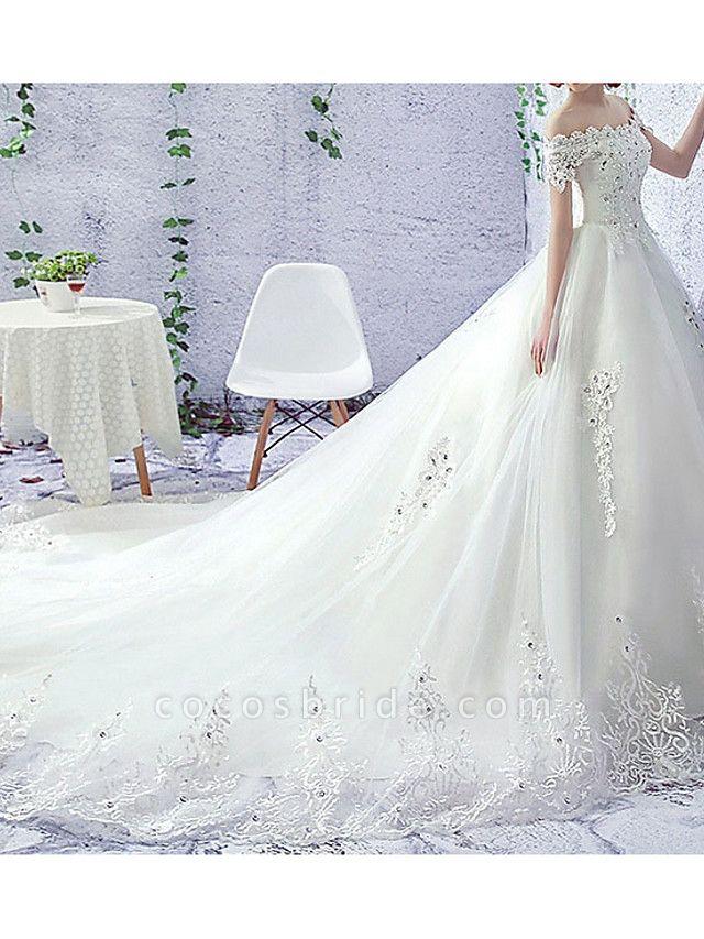A-Line Wedding Dresses Off Shoulder Sweep \ Brush Train Lace Short Sleeve Beach Illusion Sleeve