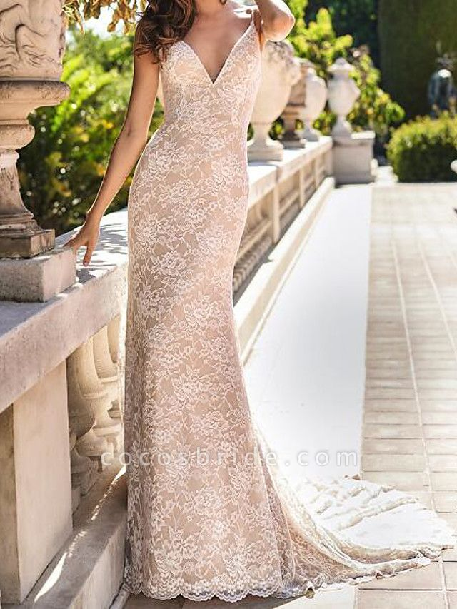 Mermaid \ Trumpet Wedding Dresses Spaghetti Strap Sweep \ Brush Train Chiffon Lace Sleeveless Country Plus Size
