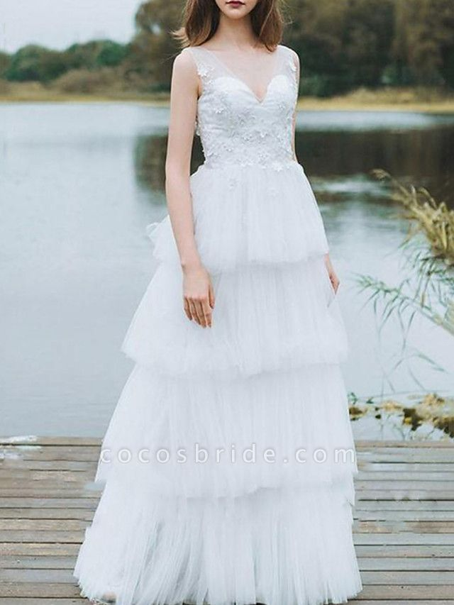 A-Line Wedding Dresses V Neck Floor Length Lace Tulle Sleeveless Country