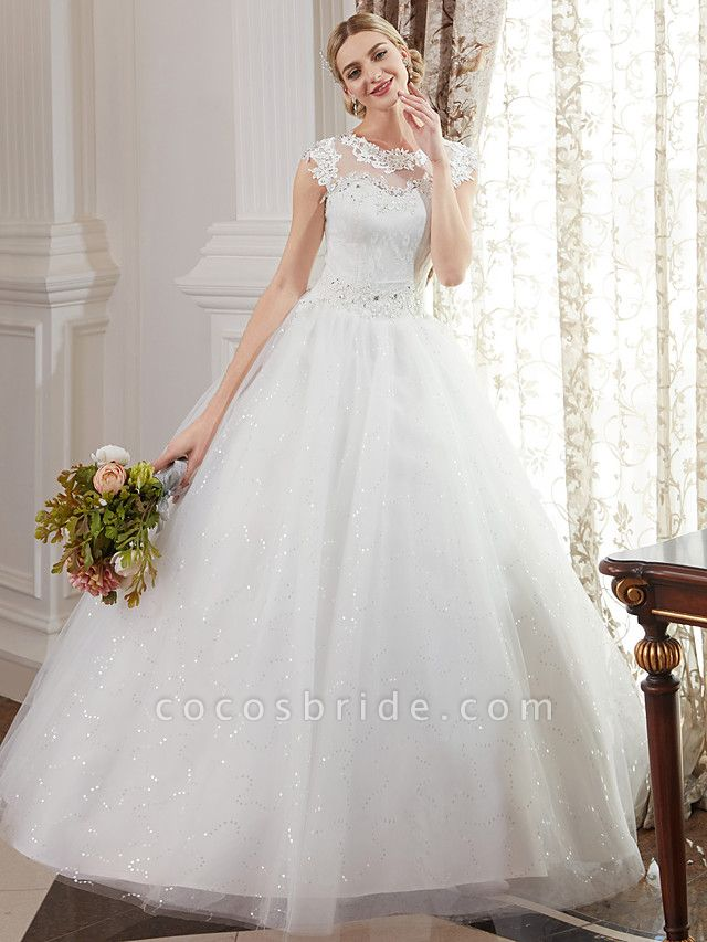 Ball Gown Wedding Dresses Jewel Neck Floor Length Lace Over Tulle Cap Sleeve Romantic Illusion Detail