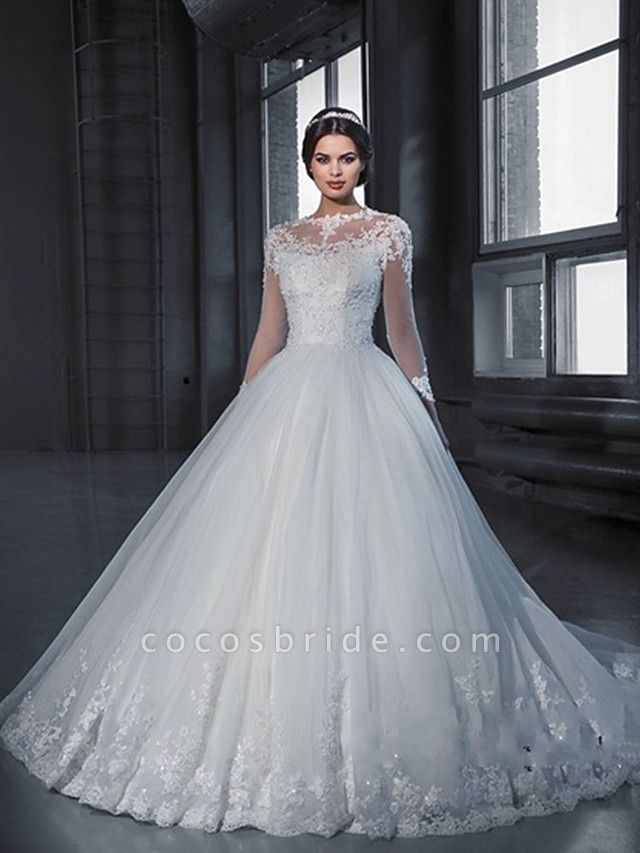 A-Line Off Shoulder Court Train Lace Long Sleeve Sexy Wedding Dresses
