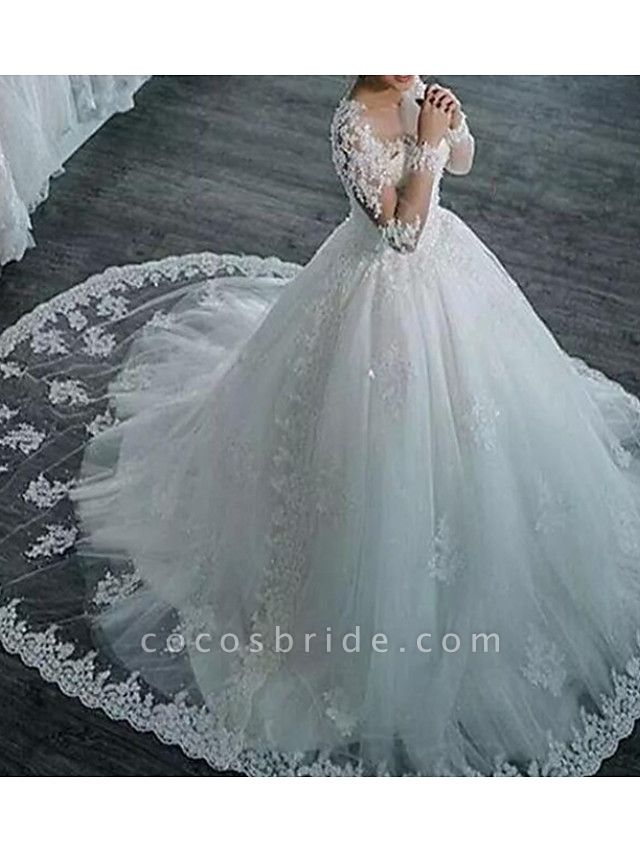 A-Line Wedding Dresses Jewel Neck Sweep \ Brush Train Lace Tulle Long Sleeve Formal Casual Plus Size Illusion Sleeve