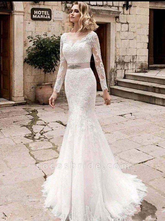 Mermaid \ Trumpet Wedding Dresses Jewel Neck Court Train Lace Tulle Lace Over Satin Long Sleeve Plus Size Illusion Sleeve