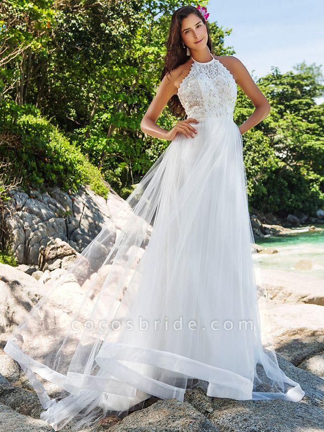 Princess A-Line Wedding Dresses Halter Neck Chapel Train Lace Organza Sleeveless Open Back