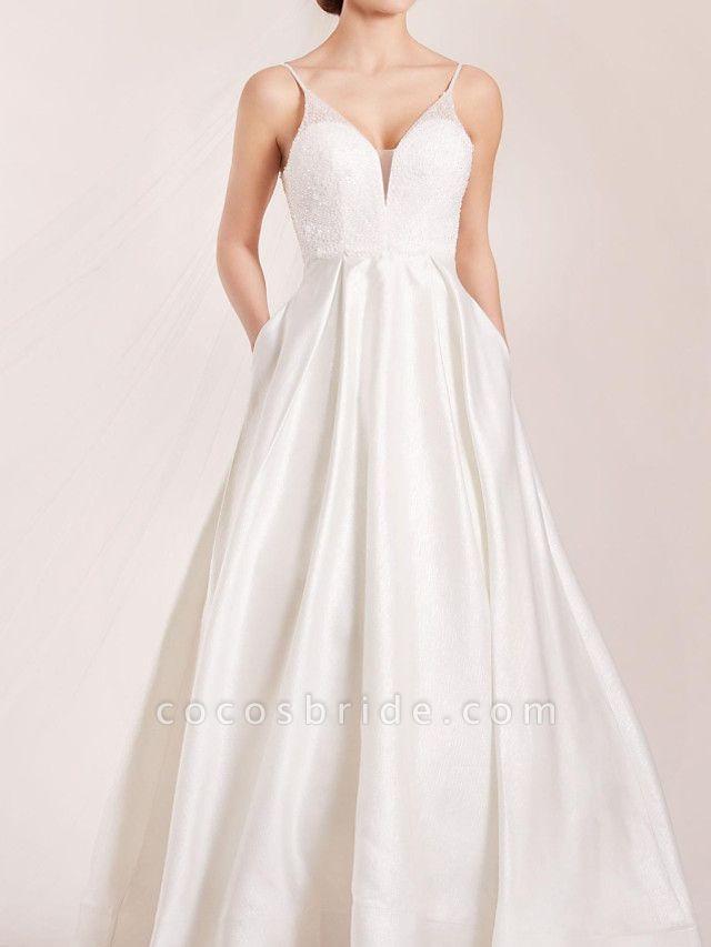 A-Line Wedding Dresses Spaghetti Strap Sweep \ Brush Train Polyester Sleeveless Country Plus Size