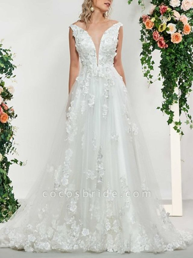 A-Line V Neck Sweep \ Brush Train Lace Tulle Sleeveless Sexy Backless Wedding Dresses