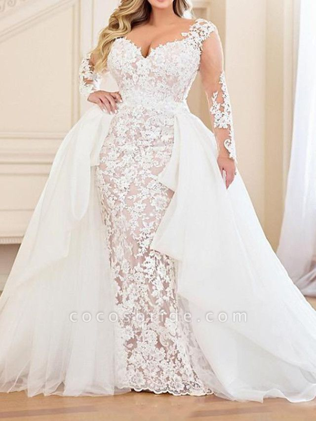 Mermaid \ Trumpet V Neck Sweep \ Brush Train Lace Organza Long Sleeve Country Plus Size Wedding Dresses