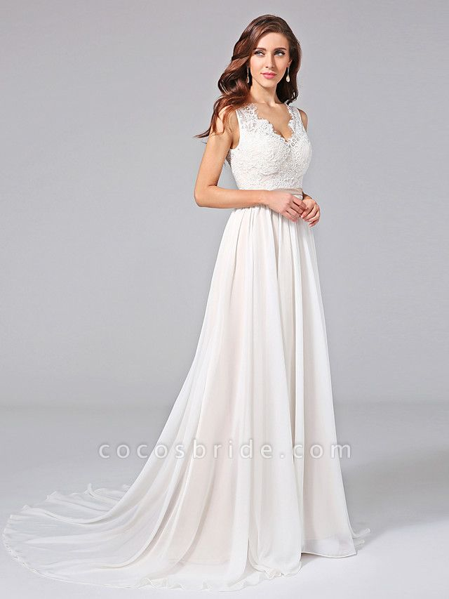 A-Line Wedding Dresses V Neck Court Train Chiffon Lace Regular Straps Romantic See-Through Plus Size Backless
