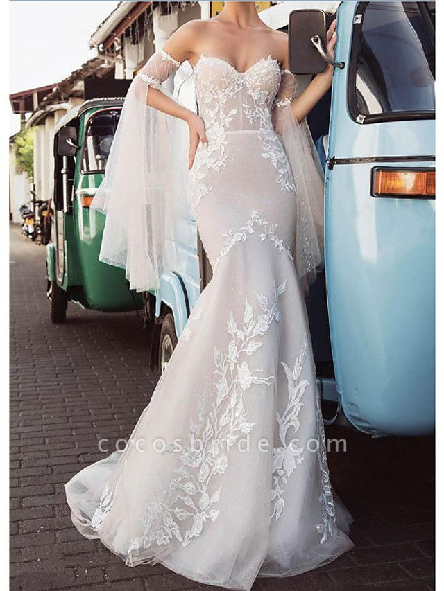 Mermaid \ Trumpet Wedding Dresses Strapless Sweep \ Brush Train Lace Tulle Long Sleeve Strapless Country Plus Size