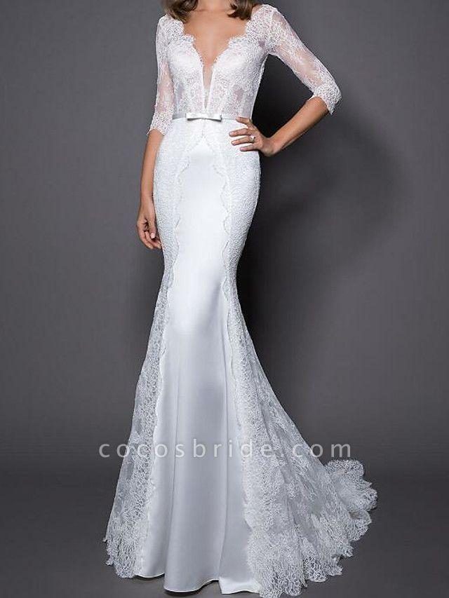 Mermaid \ Trumpet Wedding Dresses V Neck Sweep \ Brush Train Lace Satin Half Sleeve Country Plus Size