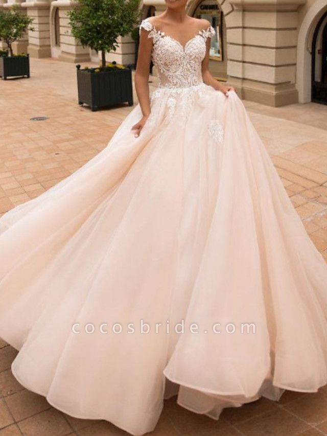 Ball Gown A-Line Off Shoulder Court Train Lace Satin Tulle Short Sleeve Vintage Sexy Wedding Dress in Color See-Through Backless Wedding Dresses