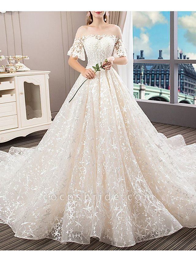 A-Line Bateau Neck Court Train Polyester Short Sleeve Illusion Sleeve Wedding Dresses