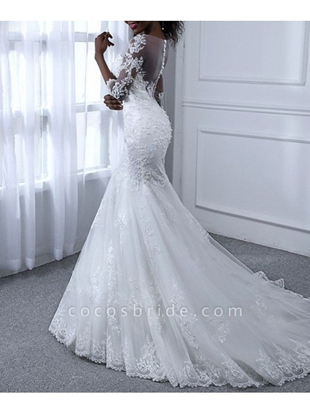 Mermaid \ Trumpet Wedding Dresses Jewel Neck Sweep \ Brush Train Tulle Long Sleeve Casual Plus Size Illusion Sleeve