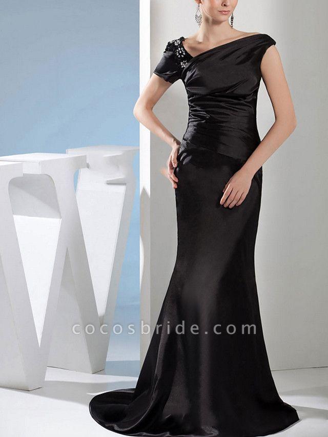 Mermaid \ Trumpet Wedding Dresses Off Shoulder Sweep \ Brush Train Satin Short Sleeve Formal Black