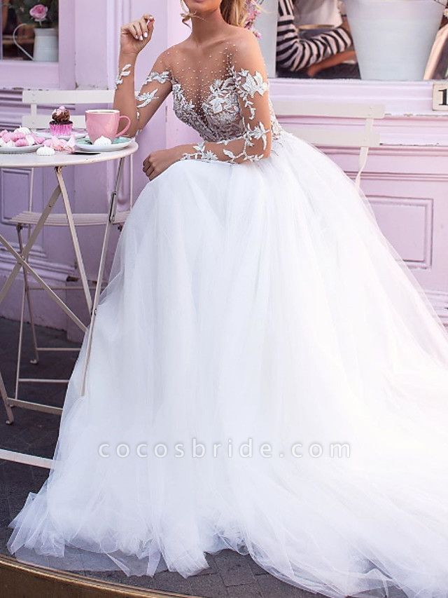 A-Line Jewel Neck Court Train Lace Tulle Long Sleeve Sexy Plus Size Wedding Dresses