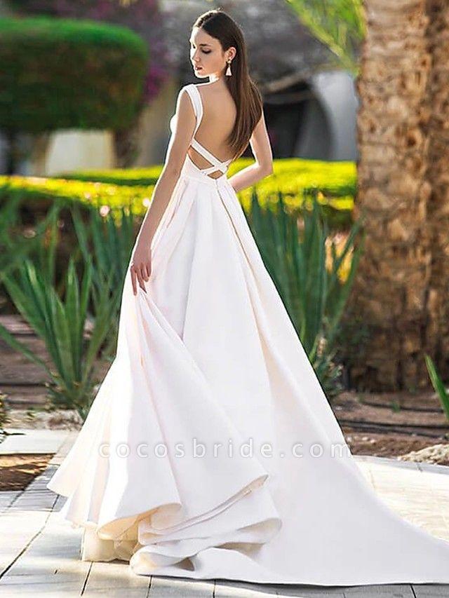 A-Line Wedding Dresses Bateau Neck Court Train Polyester Cap Sleeve Beautiful Back