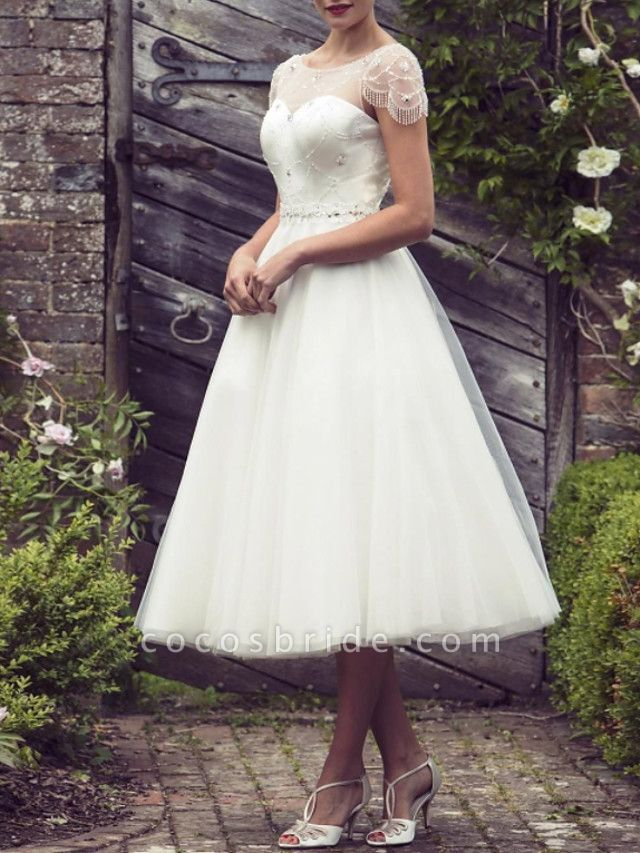A-Line Wedding Dresses Jewel Neck Tea Length Satin Tulle Short Sleeve Vintage Sexy Wedding Dress in Color See-Through