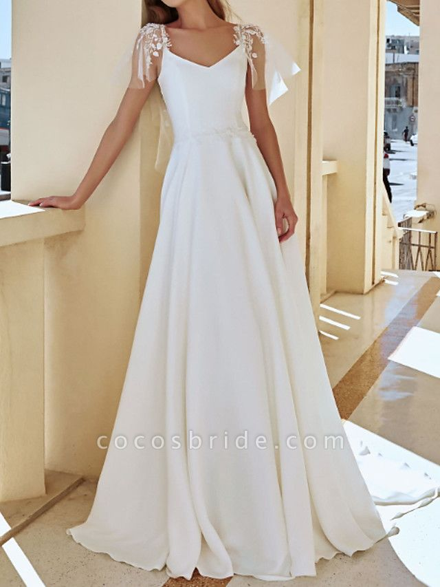 A-Line Wedding Dresses V Neck Sweep \ Brush Train Lace Stretch Satin Jersey Short Sleeve Country Plus Size Illusion Sleeve