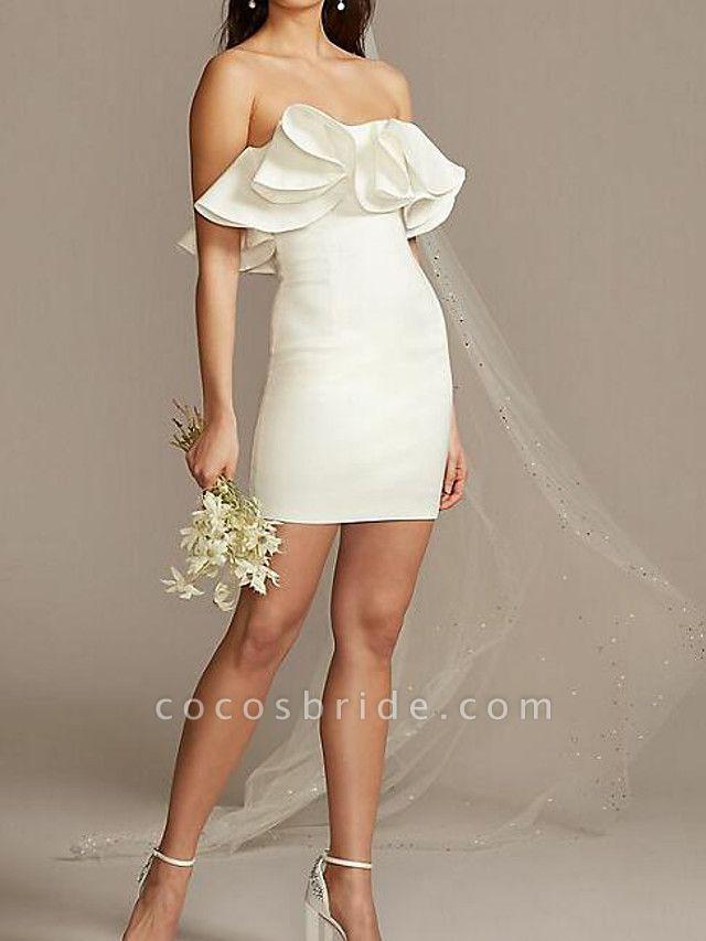 Sheath \ Column Wedding Dresses Strapless Short \ Mini Satin Sleeveless Country Plus Size