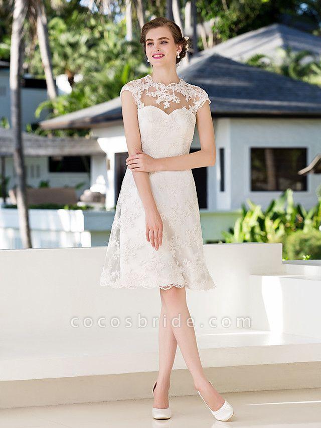 A-Line Sheath \ Column Wedding Dresses Jewel Neck Knee Length Floral Lace Cap Sleeve Vintage Little White Dress Illusion Detail Backless