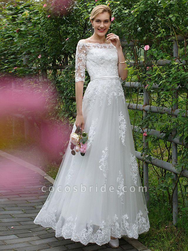 Princess A-Line Wedding Dresses Off Shoulder Floor Length Lace Tulle Half Sleeve Floral Lace