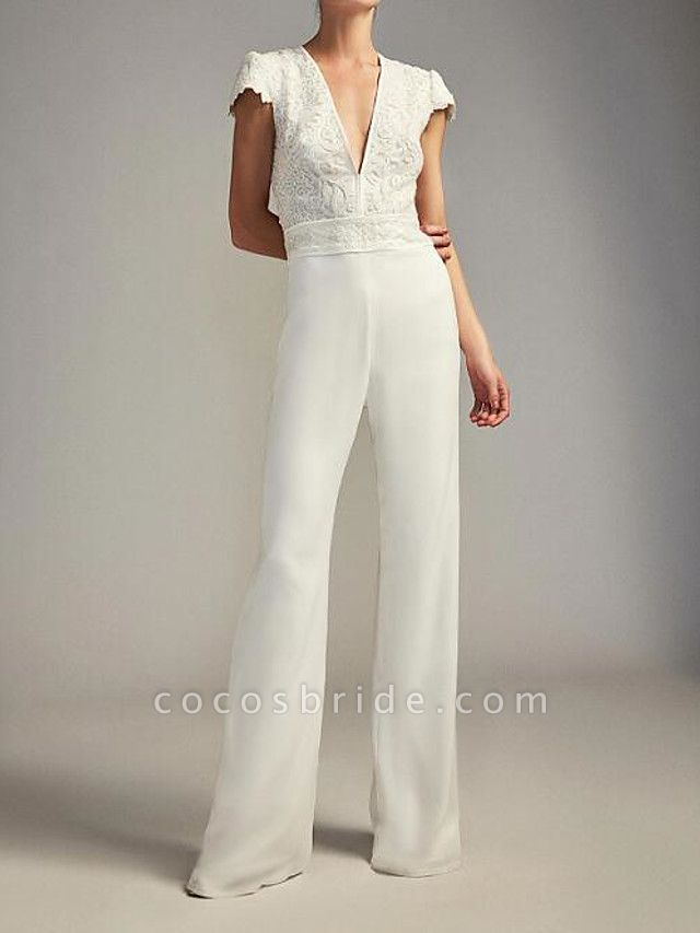 Jumpsuits Wedding Dresses Plunging Neck Floor Length Chiffon Lace Cap Sleeve Country Plus Size
