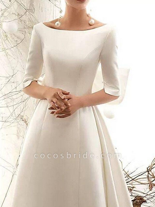 A-Line Wedding Dresses Bateau Neck Court Train Satin Half Sleeve Vintage Illusion Detail Plus Size