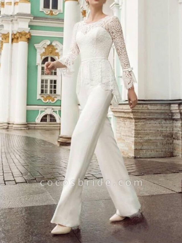 Two Piece Jumpsuits Wedding Dresses Jewel Neck Floor Length Lace Stretch Satin Long Sleeve Country Plus Size