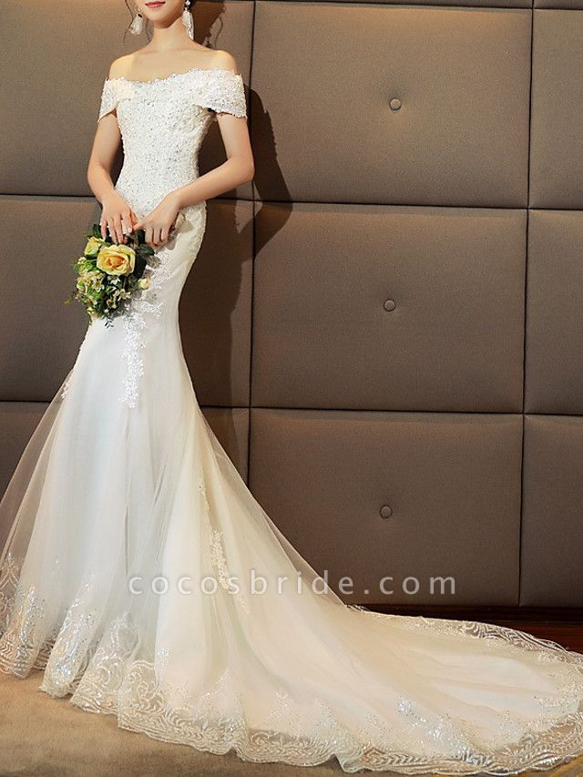 Mermaid \ Trumpet Wedding Dresses Off Shoulder Sweep \ Brush Train Tulle Sequined Cap Sleeve Romantic Sexy Illusion Detail