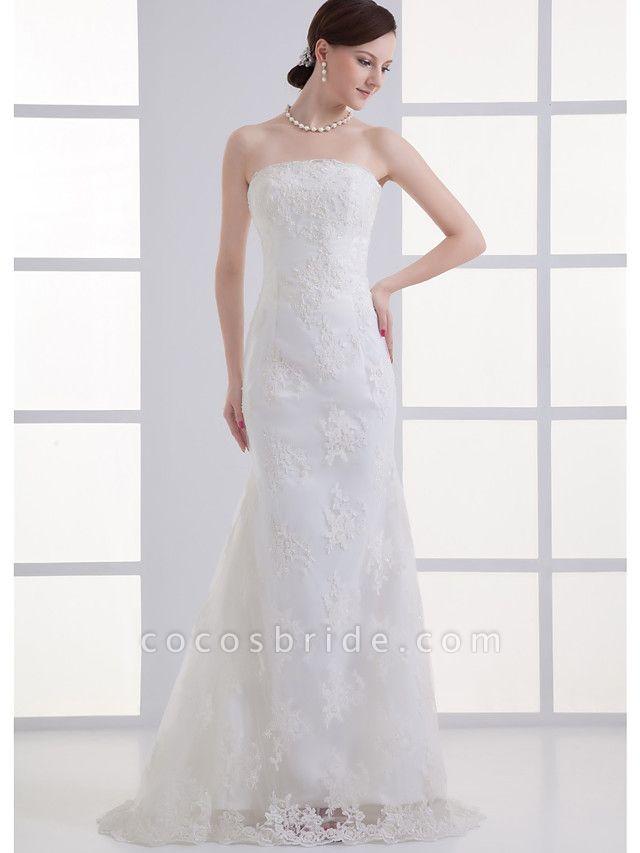 Mermaid \ Trumpet Strapless Court Train Lace Satin Tulle Strapless Wedding Dresses