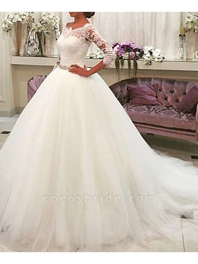 A-Line Wedding Dresses Jewel Neck Sweep \ Brush Train Lace Tulle 3\4 Length Sleeve Formal Illusion Sleeve