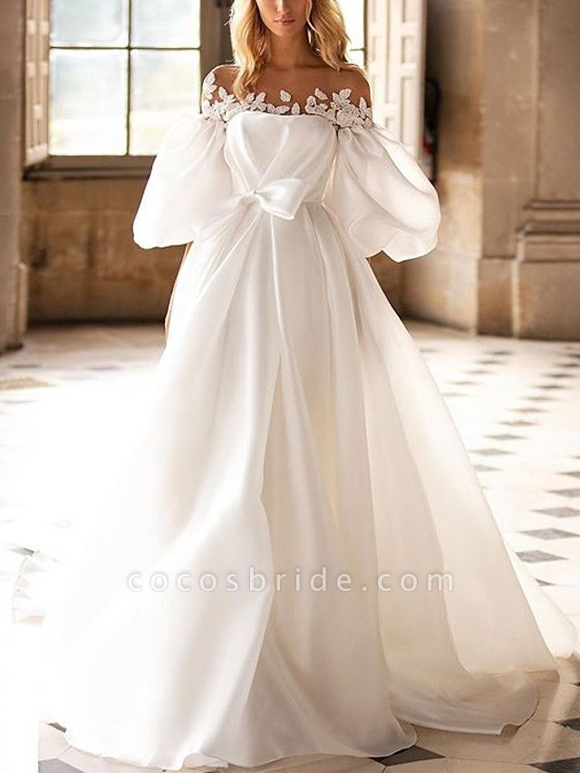 A-Line Wedding Dresses Off Shoulder Sweep \ Brush Train Satin Half Sleeve Country Plus Size