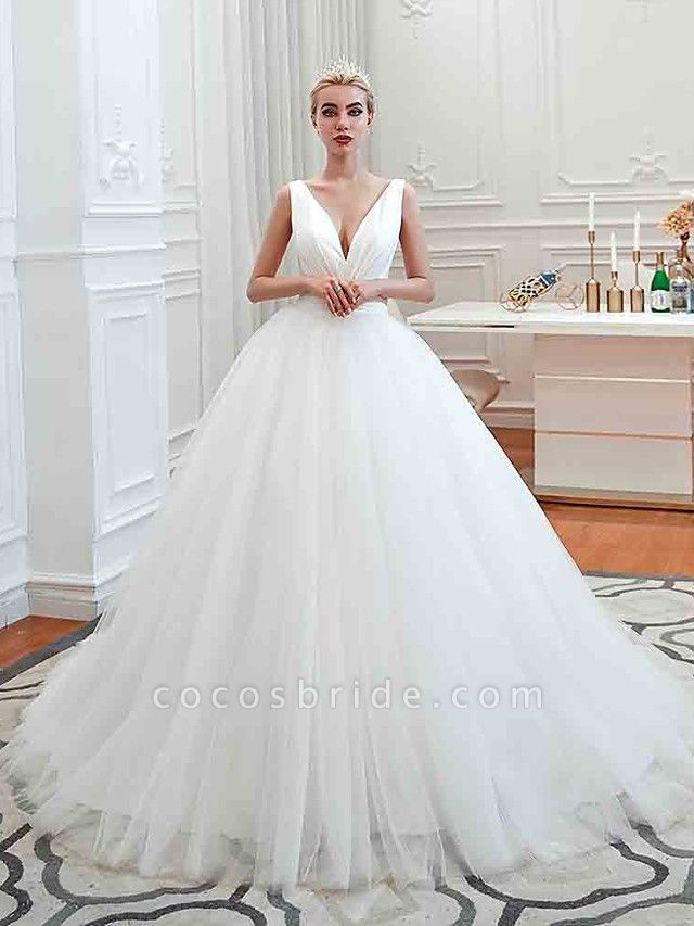 Ball Gown Wedding Dresses V Neck Court Train Tulle Regular Straps Simple Glamorous Backless