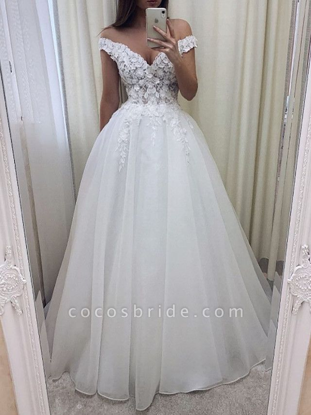 A-Line Wedding Dresses V Wire Sweep \ Brush Train Lace Tulle Short Sleeve Sexy See-Through