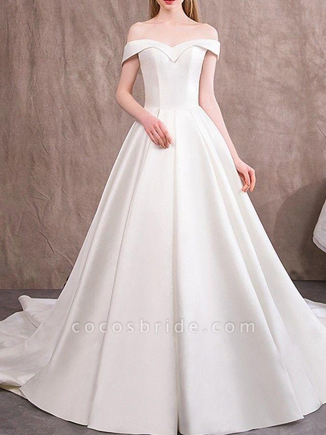 A-Line Wedding Dresses Off Shoulder Sweep \ Brush Train Satin Cap Sleeve Vintage