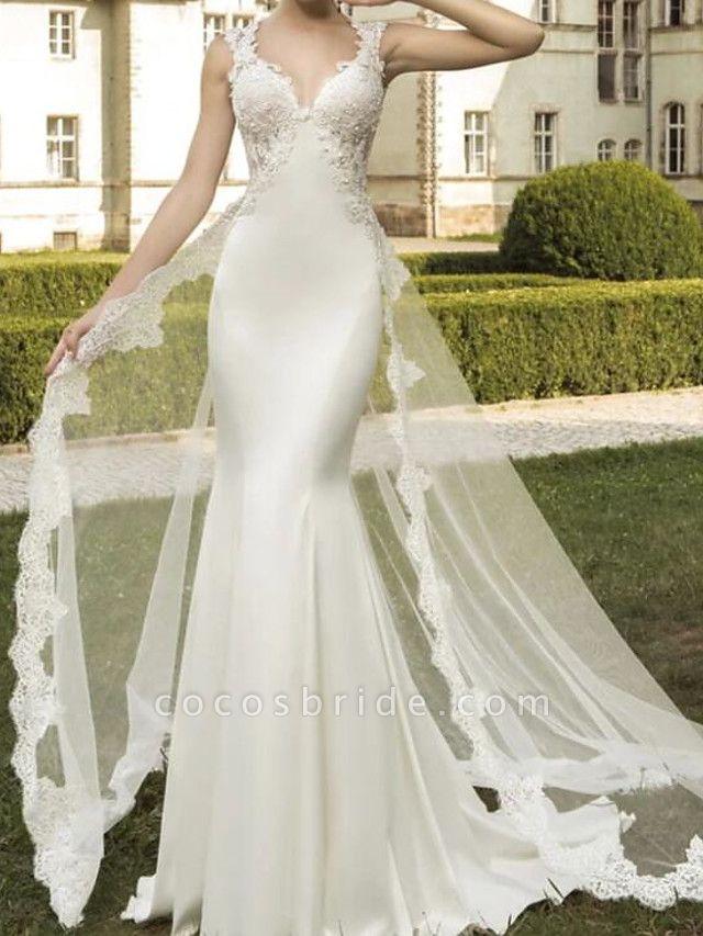 Mermaid \ Trumpet Wedding Dresses V Neck Sweep \ Brush Train Satin Tulle Sleeveless Formal