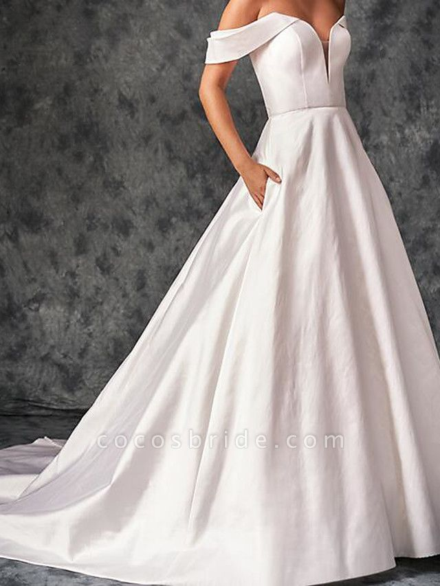 A-Line Wedding Dresses Off Shoulder Sweep \ Brush Train Chiffon Over Satin Short Sleeve Country Plus Size